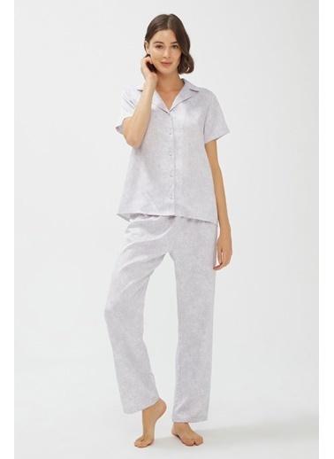Penti Kadın Renkli Stone Saten Pijama Takım PN5T6ENG20SK Renkli
